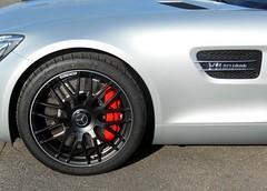 AMG GT V8 Biturbo (detail / part view) (xavnco2) Tags: detail cars wheel automobile view part badge mercedesbenz brake autos gt v8 pneu amg roue biturbo frein jante trier