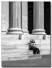 20080319_1253_1 (gabrielpsarras) Tags: bw woman monument sunshine stairs blackwhite downtown steps athens greece historical column marble zappeion  zappeio
