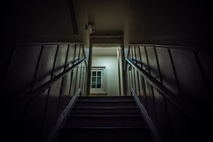 Cottage Stairs (Evan's Life Through The Lens) Tags: life camera light cold eye college glass up night stairs contrast vintage dark lens nice scary looking view minolta sony dorm 28mm cottage end worm creapy f28 suspence a7s
