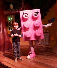 Jack was tickled pink to meet a lady brick (Shamus O'Reilly) Tags: pink jack toy happy kid child lego mascot windsor legoland pleased