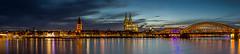 Cologne Riverside Panorama (Elias2807) Tags: bridge panorama night river lights cathedral dom cologne kln brcke rhine rhein