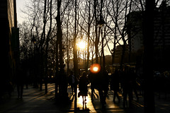 On the way home (Jean I Cresol) Tags: barcelona street city sunset reflection outside evening march spring spain europe cityscape outdoor streetphotography 12th 2016