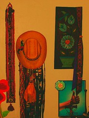 My Hippie Wall...TRINKETS!!! (calicatt2000) Tags: flowers leather belt peace fringe bum chick hippie thumb bluebird cowboyhat trinkets hitchhike seedbead medicinebag womancave