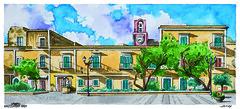 Piazza Castello-Ventotene (Alessandro Ardy) Tags: watercolor mediterraneo nuvole orologio ventotene libreria isola piazzacastello acquarello pontine ultimaspiaggia libreriaultimaspiaggia