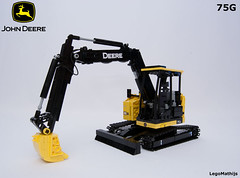 06_John_Deere_75G (LegoMathijs) Tags: road scale yellow john chains team model lego display technic dozer blade snot deere compact excavator moc 75g foitsop decalls legomathijs