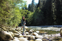 Shore (sandrachen07191) Tags: park trip bridge trees portrait brown lake color tree green water colors girl vancouver stairs forest landscape waterfall model friend rocks bc suspension outdoor hiking sunny canyon hike lynn shore balance suspensionbridge lynncanyon pathway 30ftpool