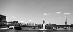 Seine (BeauHindlet) Tags: blackandwhite white black paris france water monochrome statue tour waterfront outdoor eiffel liberte