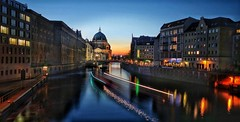 Berlin city lights (Christian_from_Berlin) Tags: blue sunset vacation reflection berlin skyline night river germany lights cathedral dusk dom sony hour spree berlinatnight spreeriver