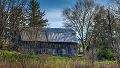 Bygone Barn (tquist24) Tags: park old trees sky tree barn rural landscape geotagged spring nikon unitedstates rustic indiana fremont hdr bygone pokagonstatepark beechwoodnaturepreserve nikond5300
