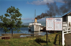 'Maid of the Loch' at Balloch - with Fares Board. Jul'78. (David Christie 14) Tags: balloch lochlomond maidoftheloch