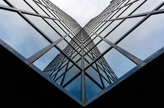 Reflected Wings On A Steel Butterfly - London City Office Life 2016 Version (On Explore 15th Jan 2016) (Simon & His Camera) Tags: city blue urban abstract reflection building london tower geometric window glass lines vertical architecture composition office pattern symmetry lookingup diagonal explore simonandhiscamera