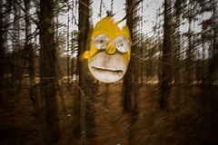 Homer (B. E. N.) Tags: street trees face dark shoe woods flash 28mm streetphotography floating thesimpsons slipper homersimpson benhelton benheltonphotography
