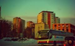 Winter in Västerås (PDN1979) Tags: winter snow bus vinter twilight sweden dusk express snö västerås buss västmanland skymning höghus kallt swebus kvällsljus akelius