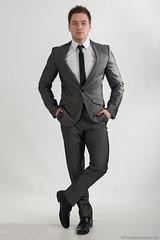 Charles (PhotoMechanic.uk) Tags: man male guy shirt youth standing pose studio stand model photoshoot formal tie dude suit jacket highkey handsinpockets