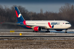 Azur Air B767 (denlazarev) Tags: winter sky clouds plane canon airplane fly photo airport russia outdoor aircraft aviation air landing airline boeing runway spotting airliner rostovondon lightroom taxiing  b767  b767300er  urrr  vqbsx azurair