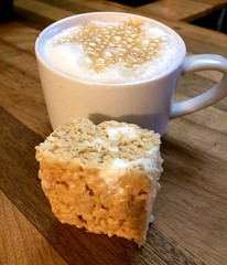 "After all that shoveling, I need a snack. A caramel latte with a homemade marshmallow rice square should do the trick!  #1840farm #coffee #marshmallow #snack • <a style=""font-size:0.8em;"" href=""http://www.flickr.com/photos/54958436@N05/24394734306/"" target=""_blank"">View on Flickr</a>"