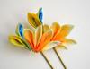 bird of paradise 03 (Bright Wish Kanzashi) Tags: flower yellow handmade silk exotic birdofparadise tsumami cadmium kanzashi customdesign zaiku