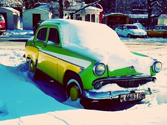 Oldcar (pharmazzon) Tags: winter snow car outdoor odessa monday oldcar letitsnow