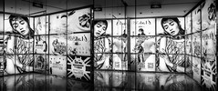(Rob-Shanghai) Tags: china glass girl poster mono mirror shanghai panoramic advert refection leicaq
