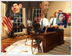oval office freakshow (J3remix) Tags: gay white house art sex photoshop poster funny ryan surrealism president satire whitehouse cartoon balloon surreal caricature obama bold ovaloffice