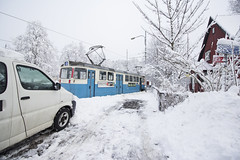 Street Car (Kelly Daniels 777) Tags: city trip winter holiday snow cold beautiful weather gteborg pretty break sweden gothenburg transport january freezing tram peaceful naturallight calm streetcar scandinavia coldweather heavysnow citybreak thicksnow