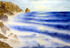 Seascape, by Valria - DSC02421 (Dona Mincia) Tags: ocean sea sky seascape art rock watercolor painting paper landscape mar arte wave paisagem cu study pedra pintura rocha onda aquarela
