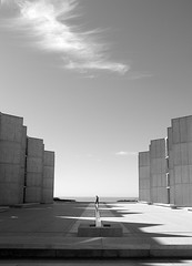 The Symmetry of Man and Nature (Rand Luv'n Life) Tags: california blackandwhite cloud monochrome walking concrete person la shadows outdoor symmetry institute lone salk jolla odc