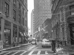 Another Fine Mess (C@mera M@n) Tags: street nyc newyorkcity winter blackandwhite snow ny newyork storm monochrome us unitedstates outdoor manhattan streetphotography places financialdistrict wallstreet steetlife streetphotograph