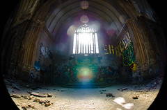 {Detroit, Michigan - Abandoned Rainbow} (oliviagogden) Tags: old windows light art abandoned church colors souls architecture mi graffiti rainbow worship paint michigan detroit indoor reverence shining sanctuary dt crumbling