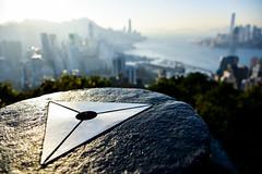 Triangulation station on Braemar Hill, Hong Kong (philipchan32866) Tags: sunset sky sun sunlight sunshine station skyline buildings hongkong evening afternoon harbour top hill warmth landmark height overview trig triangulation