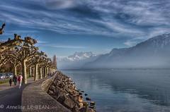 Dents du Midi et Lac Léman depuis la Tour de Peilz (CH) (Annelise LE BIAN) Tags: eau suisse bleu paysages hdr nwn dentsdumidi tourdepeilz fabuleuse laclé́man