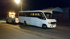 Volvo Rear Suspending 33 Seater Mercedes Coach (JAMES2039) Tags: rescue bus night truck mercedes volvo rear cardiff 4wheeler lorry breakdown heavy tow towtruck recovery ask merc wrecker vario 6wheeler fm12 underlift heavyunderlift askrecovery ca02tow rearsuspend