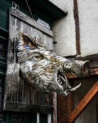 SW France (warth man) Tags: sculpture france stainlesssteel d750 stainless boarshead chromed saliesdebearn pyreneesatlantique nikon2485mmvr