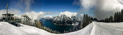 Lake Achensee Panorama [Shot on iPhone] (xxremixx) Tags: schnee winter panorama sun mountain lake snow alps clouds landscape see cloudy sunny berge alpen landschaft iphone achensee karwendel pertisau karwendelgebirge
