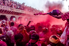 Holi Red Blast @ Nandgaon,Mathura (vjisin) Tags: red people india temple nikon asia colours action joy surreal happiness holi springfestival indianboy mathura nikond3200 uttarpradesh incredibleindia indianheritage nandgaon chennaiweekendclickers brajholi cwc497