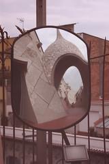 Rooftop, reflected (Rainbowfish7) Tags: barcelona spain espana gaudi casamil lapedrera
