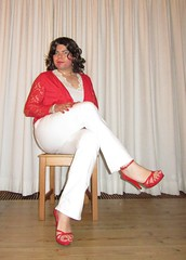 red and white outfit (Barb78ara) Tags: sitting highheels sandals jeans redlipstick stilettoheels cardigan highheelsandals sittingpretty paintednails rednails redheels whitetop redsandals tightjeans whitejeans redcardigan redtoes tightwhitejeans sandalettes