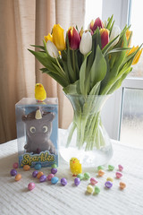 Happy easter x (emma Barnfield) Tags: camera flowers light red white plant flower colour green water yellow easter photography photo tulips chocolate sony sunday naturallight indoor gifts eggs vase bouquet unicorn nofilter windowlight chics happyeaster glittereggs easterphoto straightofthecamera