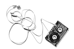 music (brescia, italy) (bloodybee) Tags: old shadow bw music stilllife white black vintage fun wire technology play walkman humor m plastic mc tape 80s letter headphones highkey bobbin cassette 365project 52weeksproject azproject
