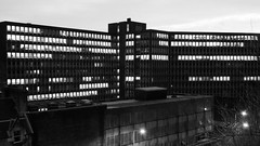 brutal architecture (byronv2) Tags: blackandwhite bw building monochrome architecture night concrete blackwhite office edinburgh nacht dusk officebuilding nuit modernarchitecture brutalist rectangular contemporaryarchitecture edimbourg brutalistarchitecture