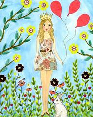 Girl Painting - Princess by Sascalia (sascalia) Tags: cute rabbit art home girl collage illustration fairytale painting children artist princess nursery queen etsy decor whimsical sascalia