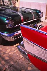 Pontiac versus Chevy (PaulHoo) Tags: street city urban detail classic chevrolet belair film car analog 35mm fifties cuba polish contax velvia american trinidad nostalgic pontiac fujichrome t2 lightroom 2015