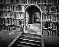the Explorer (ShutterJack) Tags: blackandwhite bw stair arch library room perspective harrypotter books bookshelf read adventure maze escher exploration mcescher mauritscornelisescher