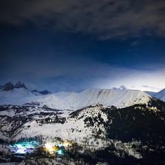 Winter landscape in Alps mountains (Zeeyolq Photography) Tags: winter snow france mountains alps night stars landscape albiezmontrond auvergnerhnealpes