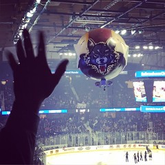 (Ryan Dickey) Tags: game hockey flying wolf teeth floating arena blimp allstatearena ahl hovering chicagowolves miniblimp