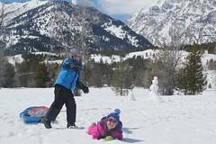 Olsen throwing a snowball (Aggiewelshes) Tags: travel winter snow april snowshoeing wyoming olsen jacksonhole jovie grandtetonnationalpark 2016 gtnp taggartlaketrail