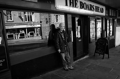 The Boars Head (nigelhunter) Tags: street urban man reflection eye window bar drunk pub head pavement cigarette candid lancaster grimace boars the