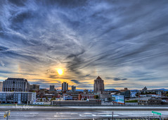 Sundog Sunset On The Side - Roanoke (Terry Aldhizer) Tags: city sunset sky weather clouds virginia roanoke terry sundog optic buildingss aldhizer terryaldhizercom