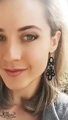 MiMan worn Handmade Earring - Doodle #02/ Black (MiMan) Tags: thread model lace earring knot cotton worn hook nero gem pendant tatting pizzo pendente modella nodo orecchino chiaccherino indossato