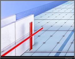 La Defense (Franois Leroy) Tags: architecture rouge tour perspectives bleu eglise lignes immeuble batiment croix dfense puteaux franoisleroy